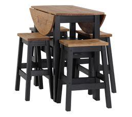Pietement : 1 tiroir.Dimensions interne: L.32,5-H.6-P.38,5 cm. TYPO Fabrication europeenne Non Plateau : Coin repas 100% bois massif. Panneau supérieur: 20mm. Chaise : Panneau de siège: 30mm. Pieds: 38x38mm. Dimensions en cm : Table:diamètre 50/75/100-H.9