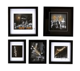 Set 5 images encadrées 50x45 ny lightings noir blanc