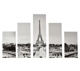 PARIS Set de 5 toiles 150X100 Noir/Blanc