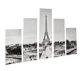 PARIS Set de 5 toiles 150X100 Noir/Blanc