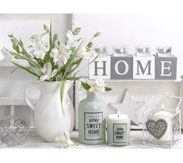 Toile 60x80 cm WHITE HOME Blanc/vert