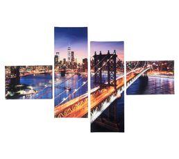 Set de 4 toiles 100X150 MANHATTAN BRIDGE Imprimé