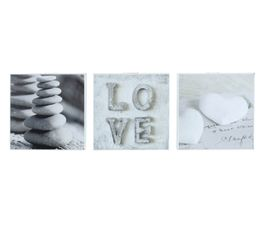 Set de 3 Box Art 20X20 ROMANTIC LOVE Gris