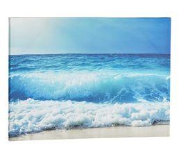 Toile 70x50 cm VAGUE Bleu / Blanc / Beige