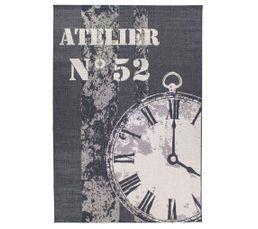 Tapis tissé plat 160x230 cm ATELIER Motif horloge