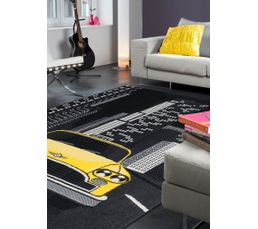 TAXIS Tapis poil court 80x150 cm Motif taxis