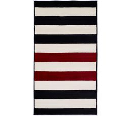 Tapis à poil court 80x150 cm RAYURE Bleu et rouge