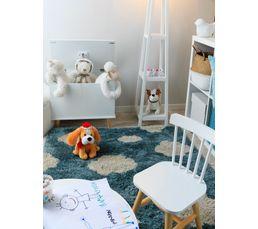 cloudi tapis 120x170 cm poils longs bleu motif nuage. Black Bedroom Furniture Sets. Home Design Ideas
