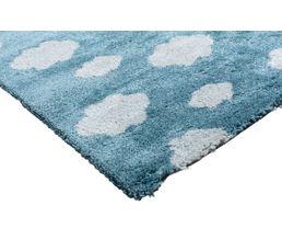 CLOUDI Tapis 120x170 cm à poils longs bleu motif nuage blanc