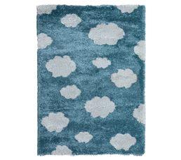 120x170 cm à poils  longs bleu motif nuage blanc