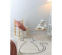 120x170 cm poil court blanc MIAOU Tapis enfant motif chat