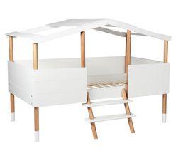 Lit cabane 90x190 ou 90x200 cm + sommier inclus KOBY blanc