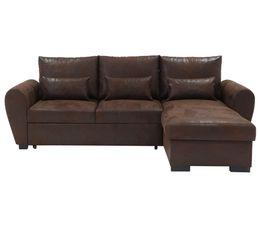 Canapé d'angle convertible méridienne réversible tissu marron foncé SCOTT