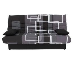 banquette lit clic clac porto labyrinthe noir gris banquettes but. Black Bedroom Furniture Sets. Home Design Ideas