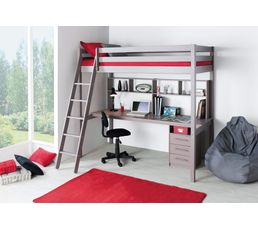 lit mezzanine 90x190 cm happy 2 gris lits superpos s et mezzanines but. Black Bedroom Furniture Sets. Home Design Ideas