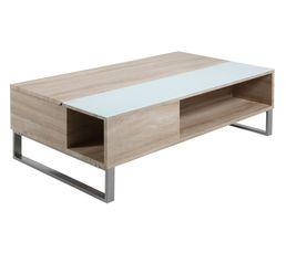 Table basse plateau relevable AZALEA Blanc et chêne