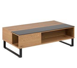 Table basse plateau relevable AZALEA Noir et chêne