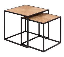 ALAK Table basse gigogne Bois et métal noir