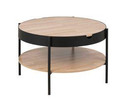 INDIE Table basse industrielle Chêne et noir