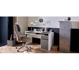 Bureau droit PLATINIUM Blanc/gris
