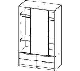 Armoire 2 portes coulissantes DRESS imitation chêne gris