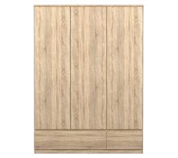 BEST Armoire 3 portes 2 tiroirs imitation chêne