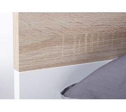 Lit 140x190 cm OSLO  blanc/ imitation chêne