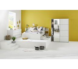 Tête de lit 140 cm avec rgt BEST LAK blanc laqué