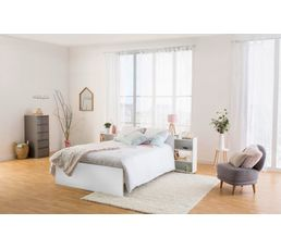 Tête de lit 160 cm avec rgt BEST LAK blanc laqué