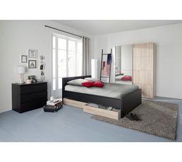 lit 140x190 cm best lak noir mat lits but. Black Bedroom Furniture Sets. Home Design Ideas
