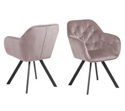 fauteuil pivotant velours LOLA rose