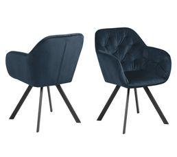 fauteuil pivotant velours LOLA bleu