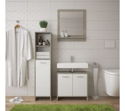 Colonne de salle de bain MALTE blanc et chêne