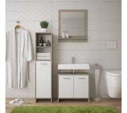 Miroir de salle de bain MALTE avec tablette chêne