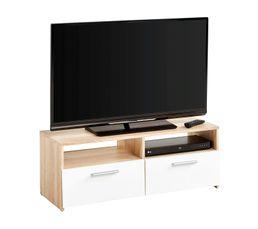 Meuble TV 2 tiroirs 2 niches RANA Chêne/blanc