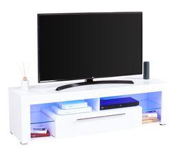 Meuble TV avec led intégrée GOAL Blanc brillant