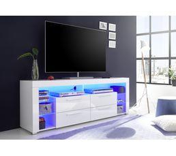 Meuble Tv Led Space Blanc Laqué Meubles Tv But