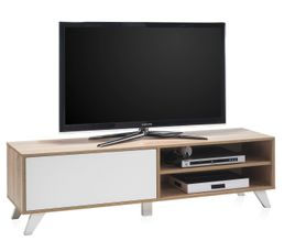Meuble TV Scandinave HYGGE Sonoma et blanc