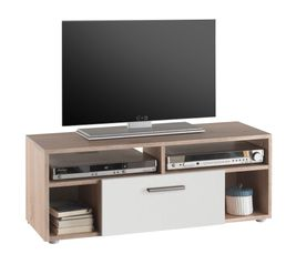 Meuble TV BOOSTER Blanc et imitation chêne