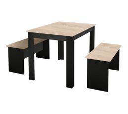 Table à manger + 2 bancs PASTA Noir et imitation chêne