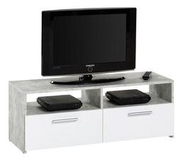 Meuble TV 2 tiroirs/2 niches RANA Effet béton/blanc
