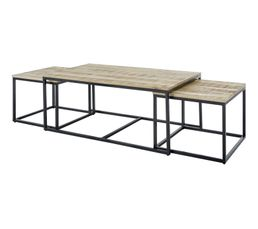 Table basse triple gigogne HARRY noir et bois