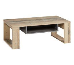 Table basse Loris imitation bois et béton gris