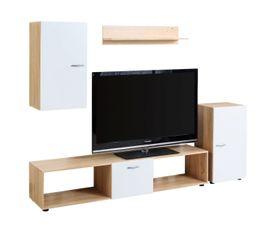 Meuble télé 4 éléments DAYS Blanc et chêne