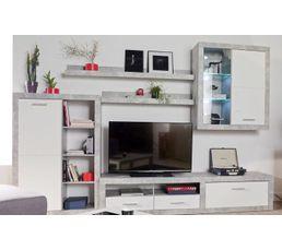 Buffet+ rangement+ meuble TV CANCAN Béton/blanc