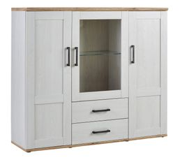ROMANCE BUffet haut 3 portes 2 tiroirs Pin/Chêne