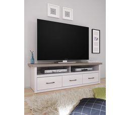 Meuble TV LUCA Bois blanchi et chêne