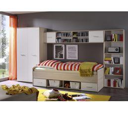 Chambre junior complète 4 meubles COMPLETO Chêne et blanc