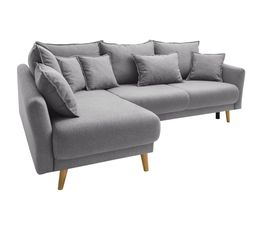 Canapé d'angle gauche convertible MIA Tissu gris clair