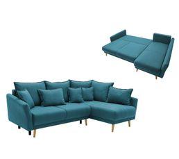 Canapé d'angle droit convertible MIA Tissu bleu canard